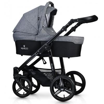 Детская коляска 2 в 1 Venicci Soft Denim Grey (на черном шасси)